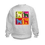 Poodle Silhouette Pop Art Kids Sweatshirt