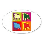 Pug Silhouette Pop Art Sticker (Oval)