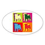 Pug Silhouette Pop Art Sticker (Oval 10 pk)