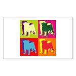 Pug Silhouette Pop Art Sticker (Rectangle 50 pk)