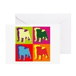Pug Silhouette Pop Art Greeting Cards (Pk of 10)