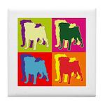 Pug Silhouette Pop Art Tile Coaster