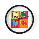 Pug Silhouette Pop Art Wall Clock