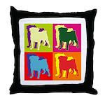 Pug Silhouette Pop Art Throw Pillow
