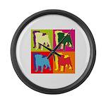 Pug Silhouette Pop Art Large Wall Clock