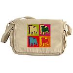 Pug Silhouette Pop Art Messenger Bag