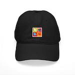 Pug Silhouette Pop Art Black Cap
