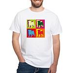 Pug Silhouette Pop Art White T-Shirt