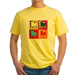 Pug Silhouette Pop Art Yellow T-Shirt