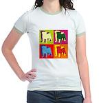 Pug Silhouette Pop Art Jr. Ringer T-Shirt