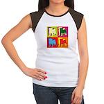 Pug Silhouette Pop Art Women's Cap Sleeve T-Shirt