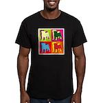 Pug Silhouette Pop Art Men's Fitted T-Shirt (dark)