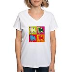 Pug Silhouette Pop Art Women's V-Neck T-Shirt