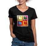 Pug Silhouette Pop Art Women's V-Neck Dark T-Shirt