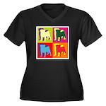 Pug Silhouette Pop Art Women's Plus Size V-Neck Da