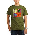 Pug Silhouette Pop Art Organic Men's T-Shirt (dark