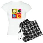 Pug Silhouette Pop Art Women's Light Pajamas