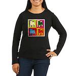 Pug Silhouette Pop Art Women's Long Sleeve Dark T-