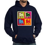 Pug Silhouette Pop Art Hoodie (dark)