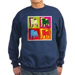 Pug Silhouette Pop Art Sweatshirt (dark)