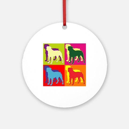 Rottweiler Silhouette Pop Art Ornament (Round)