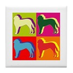 Saint Bernard Silhouette Pop Art Tile Coaster