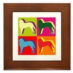 Saint Bernard Silhouette Pop Art Framed Tile