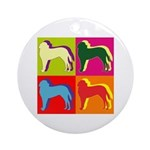 Saint Bernard Silhouette Pop Art Ornament (Round)