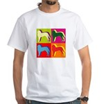 Saint Bernard Silhouette Pop Art White T-Shirt