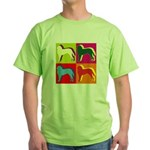 Saint Bernard Silhouette Pop Art Green T-Shirt