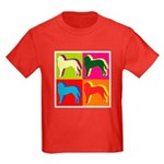 Saint Bernard Silhouette Pop Art Kids Dark T-Shirt