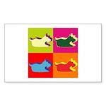 Schnauzer Silhouette Pop Art Sticker (Rectangle 10