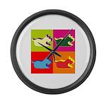 Schnauzer Silhouette Pop Art Large Wall Clock