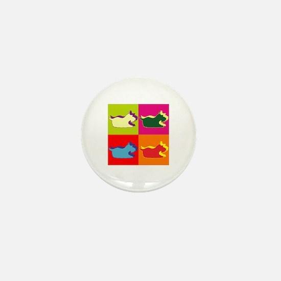 Schnauzer Silhouette Pop Art Mini Button