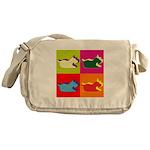 Schnauzer Silhouette Pop Art Messenger Bag