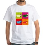 Schnauzer Silhouette Pop Art White T-Shirt