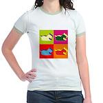 Schnauzer Silhouette Pop Art Jr. Ringer T-Shirt
