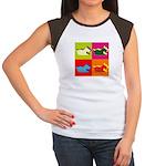 Schnauzer Silhouette Pop Art Women's Cap Sleeve T-