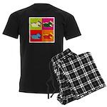 Schnauzer Silhouette Pop Art Men's Dark Pajamas
