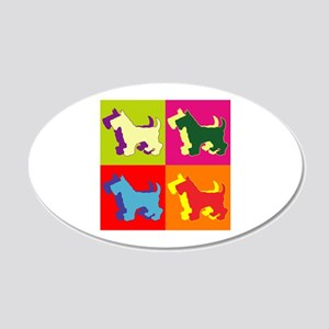 Scottish Terrier Silhouette Pop Art 22x14 Oval Wal