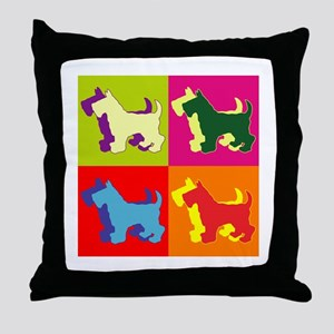Scottish Terrier Silhouette Pop Art Throw Pillow