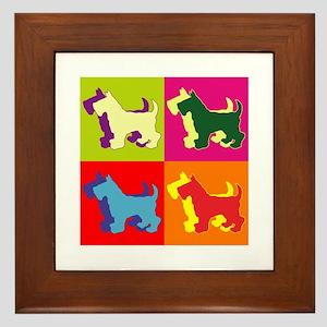 Scottish Terrier Silhouette Pop Art Framed Tile