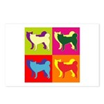 Siberian Husky Silhouette Pop Art Postcards (Packa