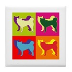Siberian Husky Silhouette Pop Art Tile Coaster