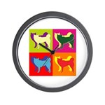 Siberian Husky Silhouette Pop Art Wall Clock