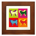 Siberian Husky Silhouette Pop Art Framed Tile