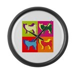 Siberian Husky Silhouette Pop Art Large Wall Clock