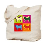 Siberian Husky Silhouette Pop Art Tote Bag