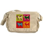 Siberian Husky Silhouette Pop Art Messenger Bag