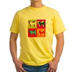 Siberian Husky Silhouette Pop Art Yellow T-Shirt